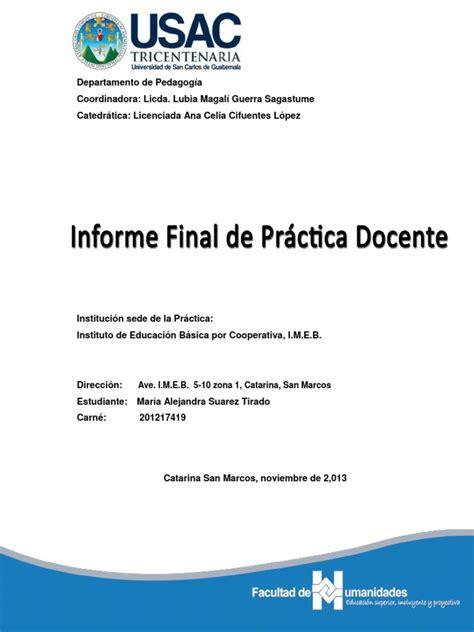indice de un proyecto 8vo nivel scribdcom informe final practica docente supervisada
