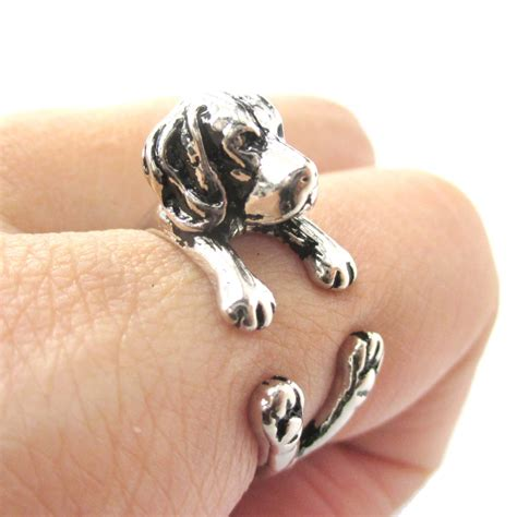 puppy ring 3d beagle puppy animal wrap ring in shiny silver sizes 4 to 8 5 183 dotoly animal