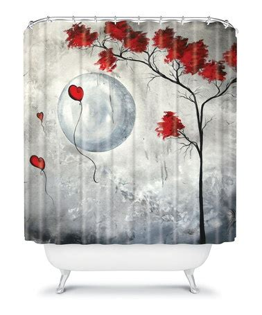 grey and red shower curtain gray red far side of the moon shower curtain