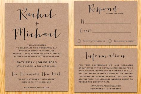 digital printable kraft paper wedding invitation suite