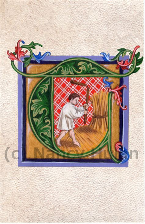 miniature medievali lettere illuminated letter t alphabet letter t