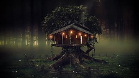 tree house dark wallpapers hd wallpapers id