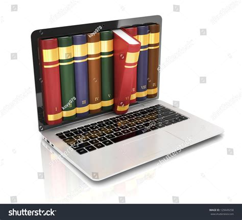 electronic picture books digital library books inside computer stock photo