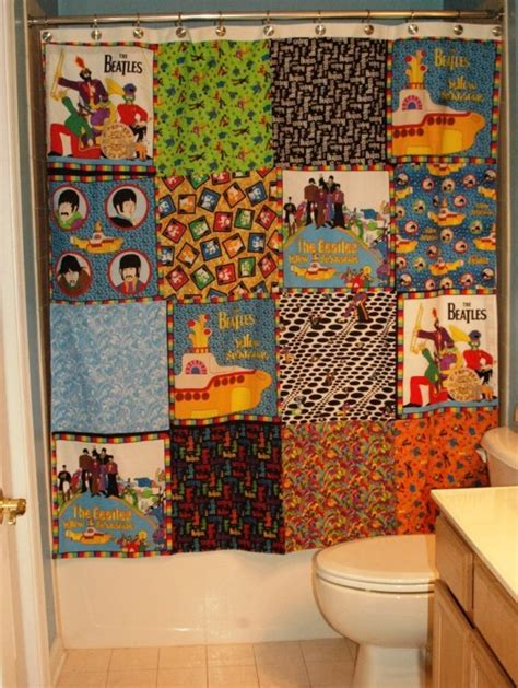 one of a kind shower curtains one of a kind handmade shower curtain made with the beatles