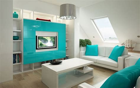 Sofa Warna Biru white wall room with white wall shelves and light blue frame on tv combined with white leather