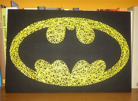 Handmade Graphics - handmade string nail batman sign wall decoration