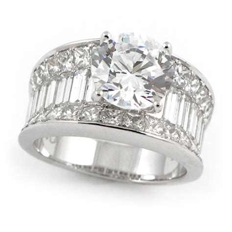 wide band engagement ring w baguette princess cut diamonds