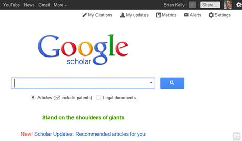 learnt  google scholar   updates uk web focus