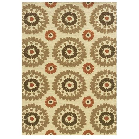 home accents rug collection linon home decor le soliel collection ivory and terracotta 5 ft x 7 ft outdoor area rug rug