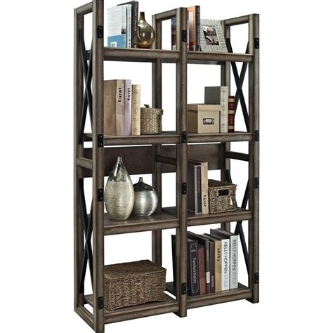 room divider bookcase rustic bookcase room divider with metal frame 9631096