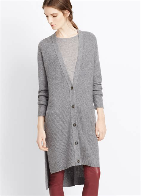 Cardigan Longs List Rib lyst vince directional rib cardigan in gray