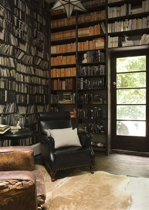 faux bookshelves with wallpaper urban kaleidoscope