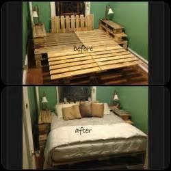 Diy Bed Frame Wooden Pallets Diy Wood Pallet Bed Frame Recycle Pallets