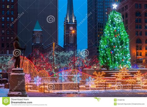 christmas lights cleveland ohio christmas on the square royalty free stock photo image