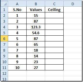 Ceiling Formula by Excel 2010 Ceiling Function
