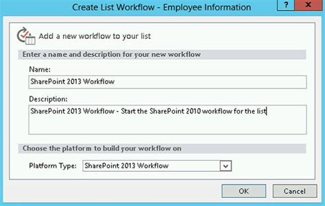 the option for the sharepoint 2013 workflow platform error the option for the sharepoint 2013 workflow