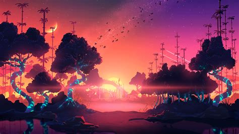 trillectro landscape sun trees moon digital artwork