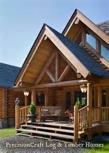 front entry of custom log home exterior view