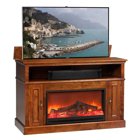 fireplace tv lift tv lift cabinet huntington fireplace lift for 40 to 60 inch screens brown at006449mic