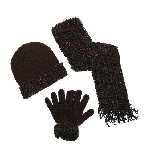 womens loopy chenille sparkle hat gloves and scarf winter