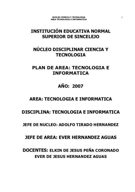 plan de area tecnologia e informatica plan de 225 rea tecnolog 237 a e inform 225 tica