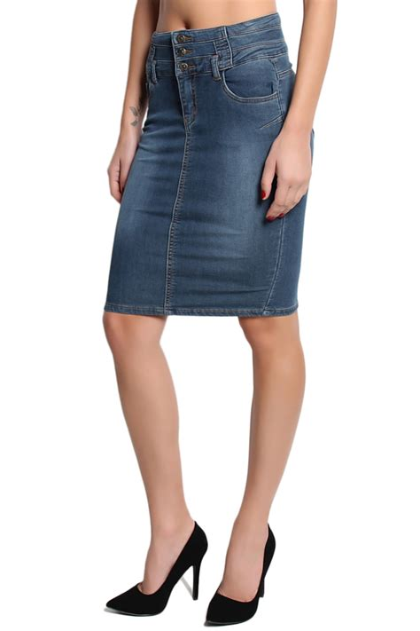 themogan vintage seamed high waist washed denim pencil