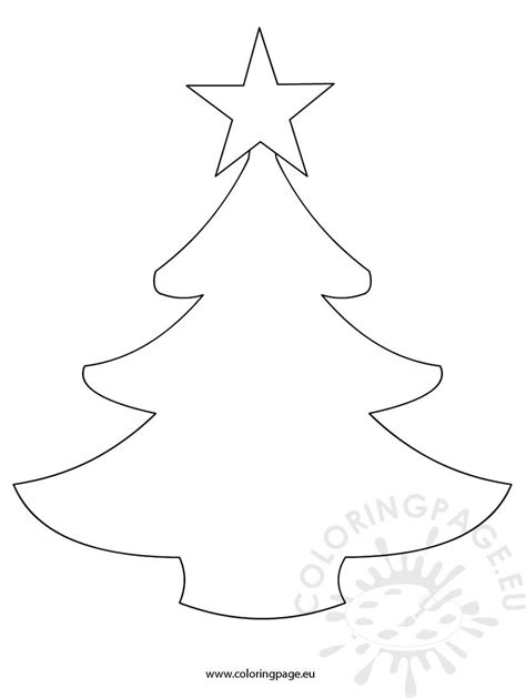 simple christmas tree template coloring page