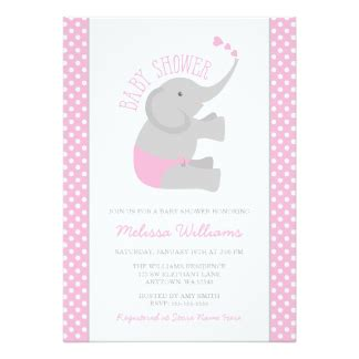 pink and gray baby shower invitations pink elephant invitations announcements zazzle
