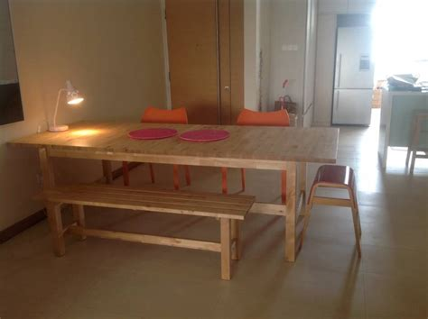 ikea norden bench norden extendable dining table plus two matching benches singapore classifieds