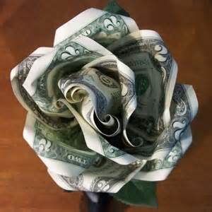 Roses this one uses two bills and a paperclip to hold them together