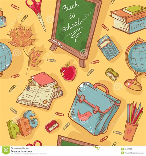 wallpaper cartoon study back to school seamless pattern with various study stock