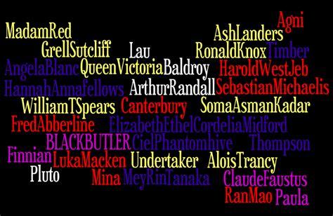 black butler list black butler character list by gothgirl124 on deviantart