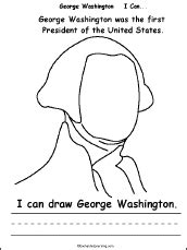 george washington coloring page for kindergarten george washington i can a printable book