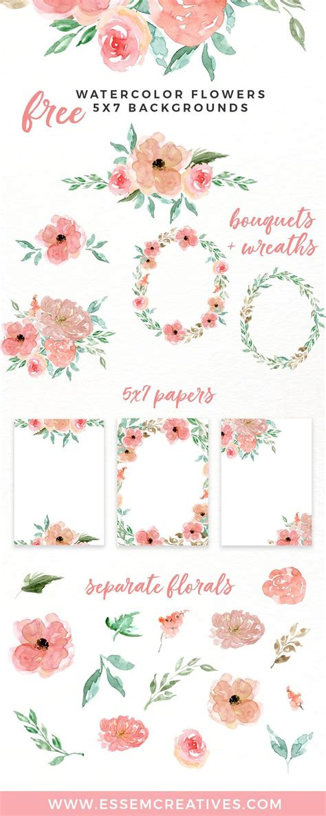 stylish printables watercolor clipart wedding stationery free watercolor flowers clipart floral wreaths 5x7