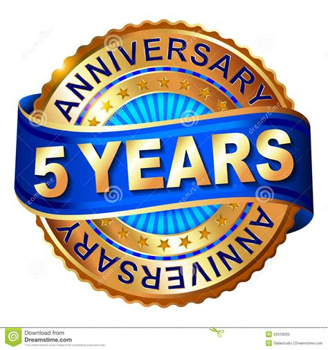 how is 5 in years 5 years anniversary golden label with ribbon stock illustration image 53318020