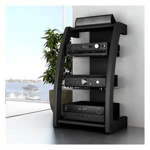 Floating Av Cabinet Sonax Milan Black Three Shelf Component Stand
