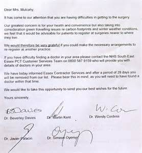Patient Travel Letter Pensioner Ordered To Leave Gp Surgery She Used For 30 Years Because Living One Mile Away Caused