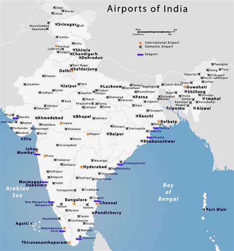 map of with airports indian airports map