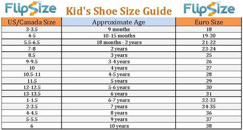kid shoe sizes shoe size chart by age world of menu and chart