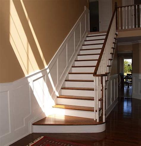 How To Put Up Wainscoting Panels by Recessed Paneled Wainscot Stair Application I Elite Trimworks