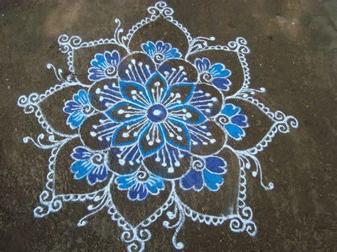 pattern of rangoli art my kolam blue day rangoli