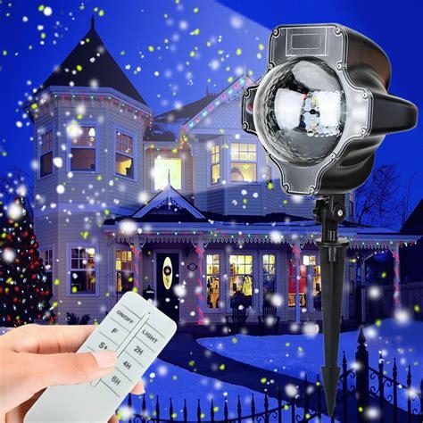 magical white falling snow projector snowfall led lights waterproof rotating snowflake projector ebay