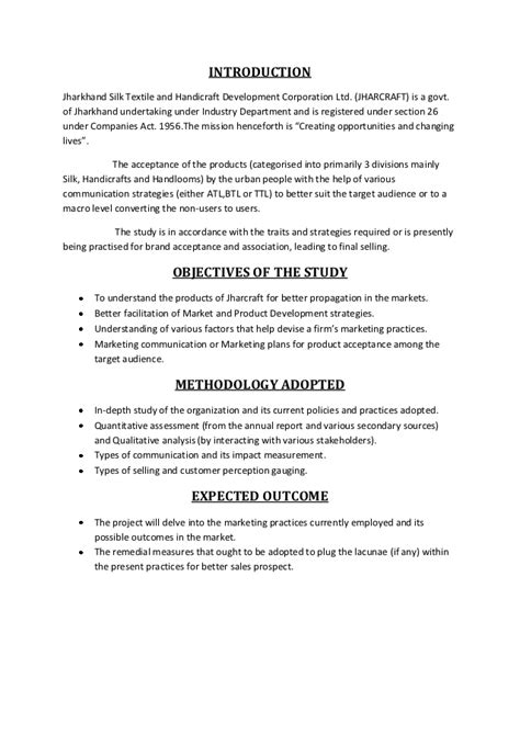 Mba Project Synopsis Free by Rural Marketing Project Synopsis