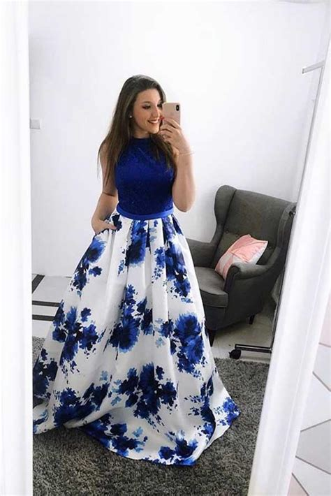 royal blue sleeveless long prom dress   floral long
