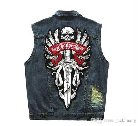 mens punk patch chopper blue denim vest motorcycle