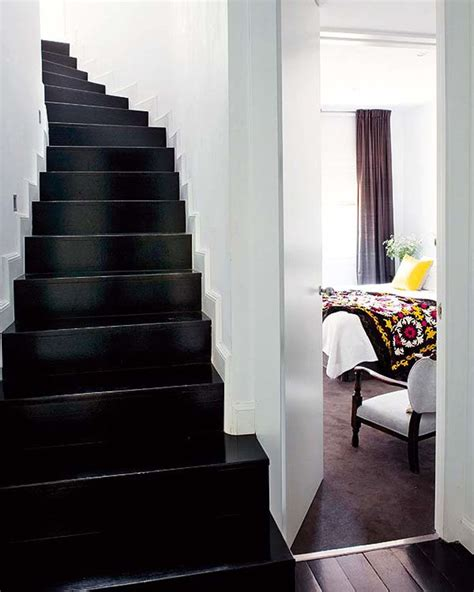 black staircase love black lacquered stairs home interior pinterest