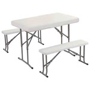 Folding Table And Bench Set Plastic 3pc Folding Table Bench Set