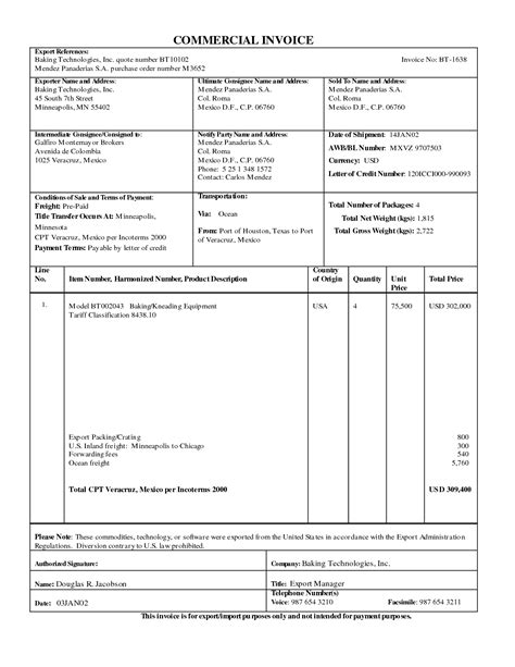 7 best images of export commercial invoice pdf blank