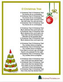 Free printable christmas carol lyrics sheet o christmas tree