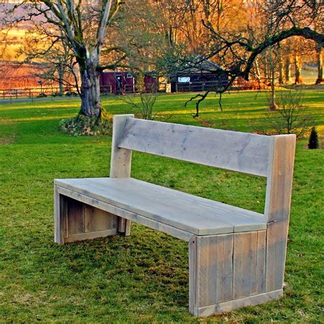 chunky garden bench wooden garden chunky solid bench in reclaimed scaffolding
